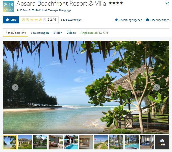 Apsara Beachfront Resort & Villa holidaycheck award 2018