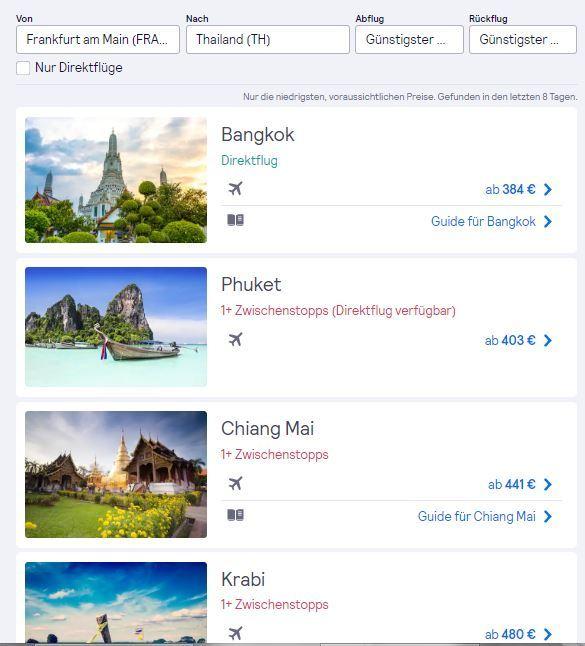günstige flüge thailand ziele